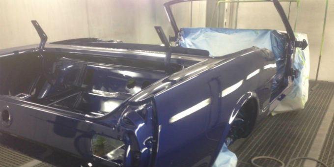 Tony's 1965 Ford Mustang being painted