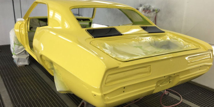 The body of the 1969 Chevy Camaro painted
