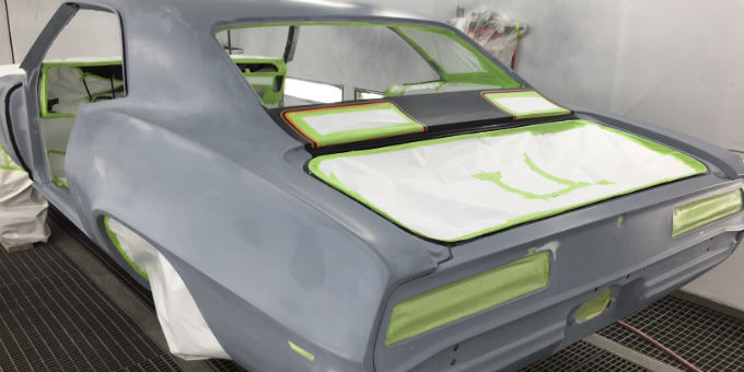 1969 Chevy Camaro in the paint booth