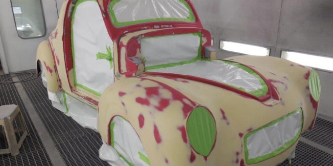 41 Willys in Paint Booth