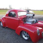 41 Willys restoration with custom red pain job - Passenger Side