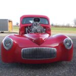 41 Willys restoration with custom red pain job - Front
