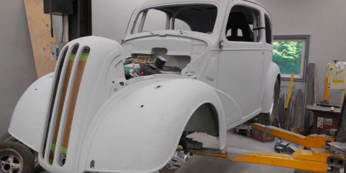 The 1948 Ford Anglia exterior is almost finished