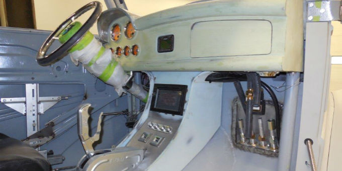 Working on the interior of the 1948 Ford Anglia