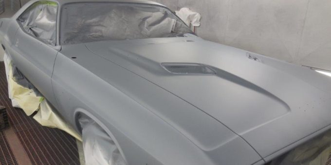 73 Challenger in the Paint Booth