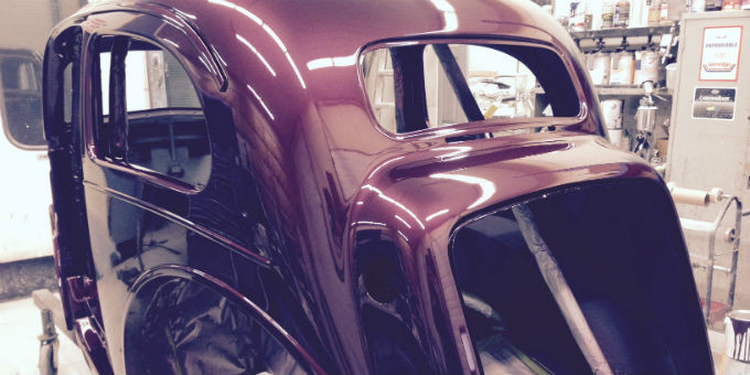 The body of Dave's 1948 Ford Anglia is painted