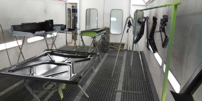 Tony's 1965 Ford Mustang in the paint booth
