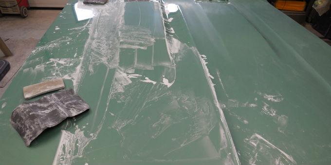 Wet sanding Dan's 1968 Pontiac Beaumont hood