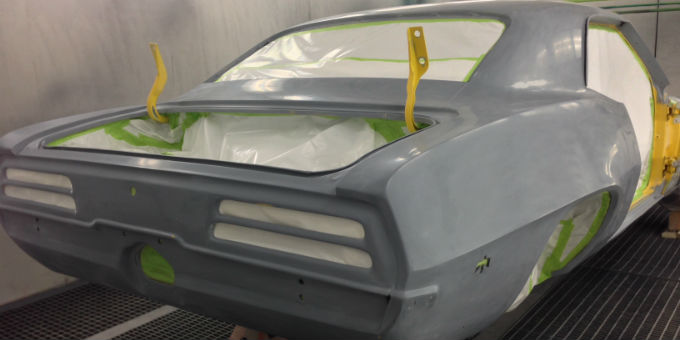 1969 Firebird in the paint booth